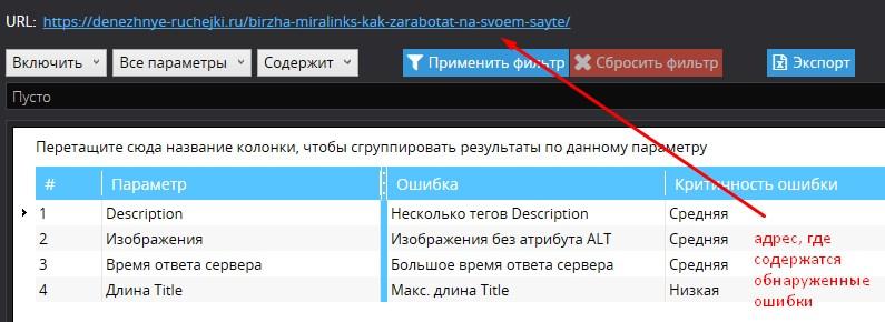 список ошибок по URL