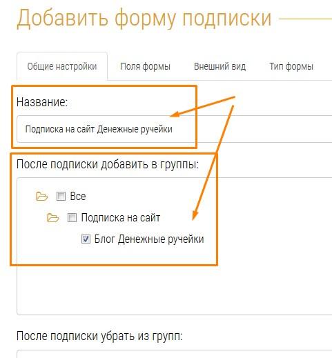общие настройки формы подписки на сайт