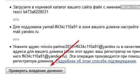 проверить владение доменом