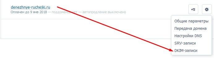 DKIM-запись на хостинге