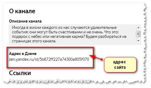 адрес сайта на канале яндекс дзен