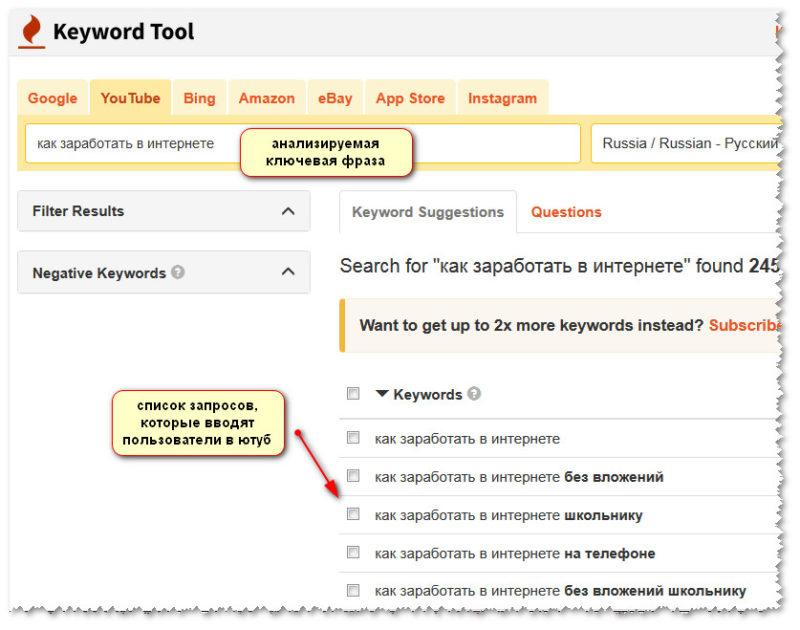 сбор ключевых слов через keyword tool