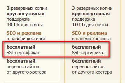 предоставление в пользование бесплатного SSL сертификата