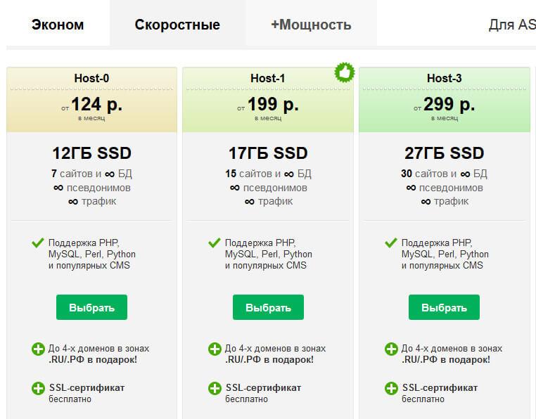 скоростные с поддержкой php